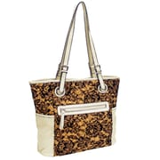 Parinda Melody Yellow Quilted Fabric with Croco Faux Leather Tote (11179)