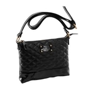 Parinda Cara Black Quilted Faux Leather Crossbody (11205)