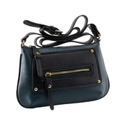 Parinda Sari Navy Pebble Grain Embossed Faux Leather Crossbody (11228)