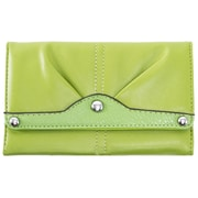 Parinda Eveline Green Faux Leather Tri-Fold Snap Closure Wallet (11301)