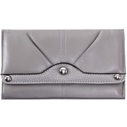 Parinda Eveline Pewter Faux Leather Tri-Fold Snap Closure Wallet (11305)