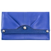 Parinda Eveline Blue Faux Leather Tri-Fold Snap Closure Wallet (11308)