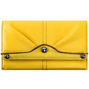 Parinda Eveline Yellow Faux Leather Tri-Fold Snap Closure Wallet (11309)