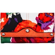 Parinda Madaline Orange Floral Fabric Tri-Fold Snap Closure Wallet (11310)