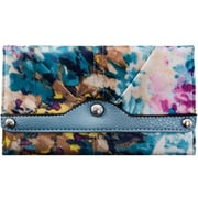 Parinda Madaline Aqua Blue Floral Fabric Tri-Fold Snap Closure Wallet (11311)