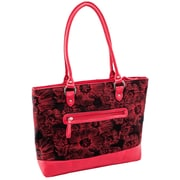 Parinda Aaryn Red Floral Quilted Fabric with Faux Leather Tote (11326)
