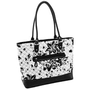 Parinda Aaryn White Floral Quilted Fabric with Faux Leather Tote (11327)