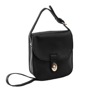 Parinda Maya Ii Pebble Black Faux Leather Crossbody (11343)