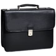 McKlein USA Ashburn S Series Black Pebble Grain Calfskin Leather Laptop Case (15145)