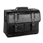 McKlein USA Beverly S Series Black Pebble Grain Calfskin Leather Laptop Case (15445)