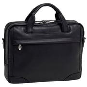 McKlein USA Bridgeport S Series Black Pebble Grain Calfskin Leather Laptop Brief (15475)