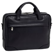 McKlein USA Bronzeville S Series Black Pebble Grain Calfskin Leather Laptop Brief (15485)