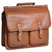 McKlein USA Hazel Crest S Series Brown Pebble Grain Calfskin Leather Double Compartment Laptop Case (15604)
