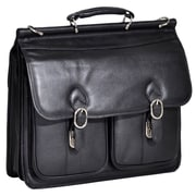 McKlein USA Hazel Crest S Series Black Pebble Grain Calfskin Leather Double Compartment Laptop Case (15605)