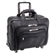 McKlein USA Gold Coast I Series Black Full Grain Cashmere Napa Leather Detachable-Wheeled Laptop Case (43185)