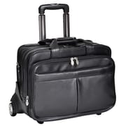 McKlein USA Roosevelt R Series Black Full Grain Cowhide Leather Detachable-Wheeled Laptop Case (84555)