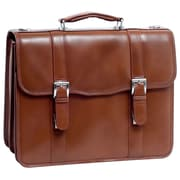 McKlein USA Flournoy V Series Brown Full Grain Cowhide Leather Double Compartment Laptop Case (85954)