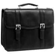 McKlein USA Flournoy V Series Black Full Grain Cowhide Leather Double Compartment Laptop Case (85955)