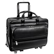 McKlein USA Franklin P Series Black Full Grain Cowhide Leather Detachable Wheeled Laptop Case (86445)