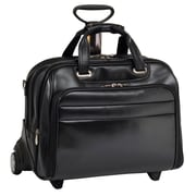 McKlein USA Midway R Series Black Full Grain Cowhide Leather Detachable Wheeled Laptop Case (86605)