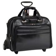 McKlein USA Midway R Series Black Full Grain Cowhide Leather Detachable Wheeled Laptop Case (86605)