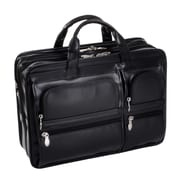 McKlein USA Hubbard P Series Black Full Grain Cowhide Leather Double Compartments Laptop Case (88435)