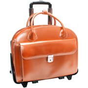 McKlein USA Glen Ellyn W Series Orange Top Grain Leather Detachable-Wheeled Ladies Laptop Case (94360)