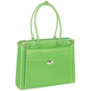 McKlein USA Winnetka W Series Green Top Grain Leather Ladies Briefcase with Removable Sleeve (94831)