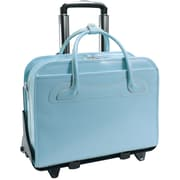 McKlein USA Willowbrook W Series Aqua Blue Top Grain Leather Detachable-Wheeled Ladies Briefcase (94988)
