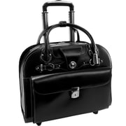 McKlein USA Edgebrook L Series Black Top Grain Leather Wheeled Ladies Briefcase (96315)