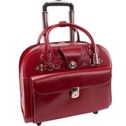 McKlein USA Edgebrook L Series Red Top Grain Leather Wheeled Ladies Briefcase (96316)