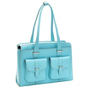 McKlein USA Alexis W Series Aqua Blue Top Grain Leather Ladies Briefcase (96548)