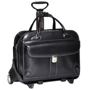 McKlein USA Lakewood W Series Black Top Grain Leather Detachable-Wheeled Ladies Briefcase (96615)