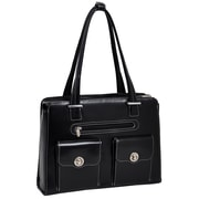 McKlein USA Verona W Series Black Top Grain Leather Ladies Briefcase (96625)