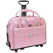 McKlein USA Roseville W Series Pink Top Grain Leather Detachable-Wheeled Ladies Briefcase (96649)