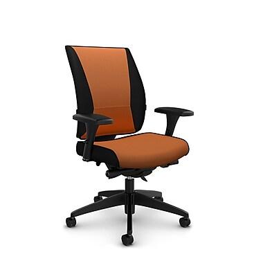 Takori – Fauteuil à inclinaison au genou synchronisée à dossier haut, tissu Imprint paprika, orange