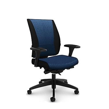 Takori – Fauteuil à inclinaison au genou synchronisée à dossier haut, tissu Match vague, bleu