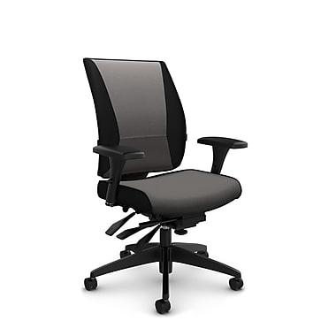 Takori – Fauteuil à inclinaison multiple à dossier haut, tissu Imprint graphite, gris
