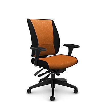 Takori – Fauteuil à inclinaison multiple à dossier haut, tissu Match orange, orange