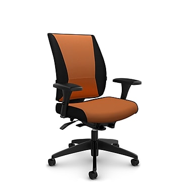 Takori – Fauteuil à inclinaison synchronisée à détection du poids à dossier haut, tissu Imprint paprika, orange