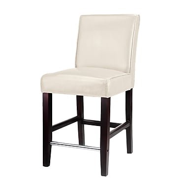 CorLiving™ DAD-514-B Antonio Counter Height Barstool, Cream Bonded Leather