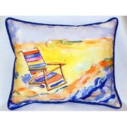 Betsy Drake Interiors Chair On Beach Indoor/Outdoor Lumbar Pillow