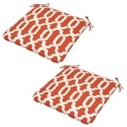 Plantation Patterns Ogee Outdoor Dining Chair Cushion (Set of 2); Coral