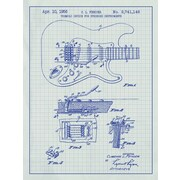 Inked and Screened Fender Stratocaster Guitar Blueprint Graphic Art Poster in White Grid/Blue Ink