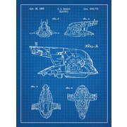 Inked and Screened Star Wars Slave-I Blueprint Graphic Art Poster in Blue Grid/White Ink