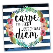 Picture it on Canvas Wreath Quotes 'Carpe Diem Floral' Textual Art on Wrapped Canvas