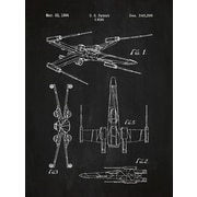 Inked and Screened Star Wars X-Wing 2 Blueprint Graphic Art Poster in Chalkboard/White Ink