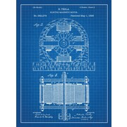 Inked and Screened Tesla Electro Magnetic Motor Blueprint Graphic Art Poster in Blue Grid/White Ink