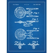 Inked and Screened Star Trek Enterprise Blueprint Graphic Art Poster in Blue Grid/White Ink