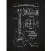 Inked and Screened Gibson Les Paul Guitar Blueprint Graphic Art Poster in Chalkboard/White Ink